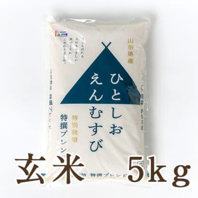 山形県産 特撰ブレンド米「ひとしおえんむすび」(特別栽培米)玄米5kg